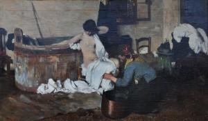 """n° 62 - Michele ALLAVENA (1863-1949) """"Après le bain"""", HST, SBD, daté 86, situé Roma, 55x93cm"""