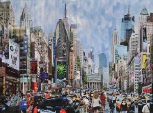 """n° 156 - Serge MENDJISKY (Né en 1929) """"Time is Money 2009"""" photographies marouflées sur toile, monotype signé et numéroté 5/8 au dos, 67x90cm"""