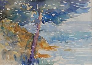 """n° 64 - Henri-Edmond CROSS """"Un arbre en bord de mer"""" aquarelle sur papier, SBG, 14,5x20,8cm (Certificat Offenstadt du 20 décembre 2011)"""