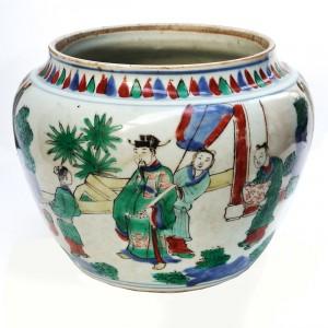 n° 33 - Pot en porcelaine de Chine cinq couleurs à décor de personnages dans des jardins (XVIIème)