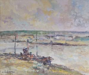"""n° 63 - Albert LEBOURG """"Bateau sur la Seine à Rouen"""" HST, SBG, 46x55cm (Certificat Wildenstein du 15 juin 2011)"""