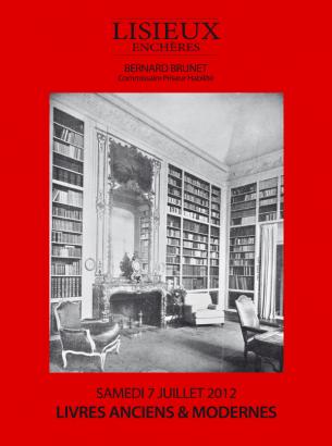 Vente aux enchères publiques de livres anciens et modernes, Bibliothèque André Carlhian et à divers.  Le samedi 7 juillet 2012 à 14h30 à l'Hôtel des ventes de Lisieux.  Cliquez sur le titre de la vente pour accéder au catalogue.